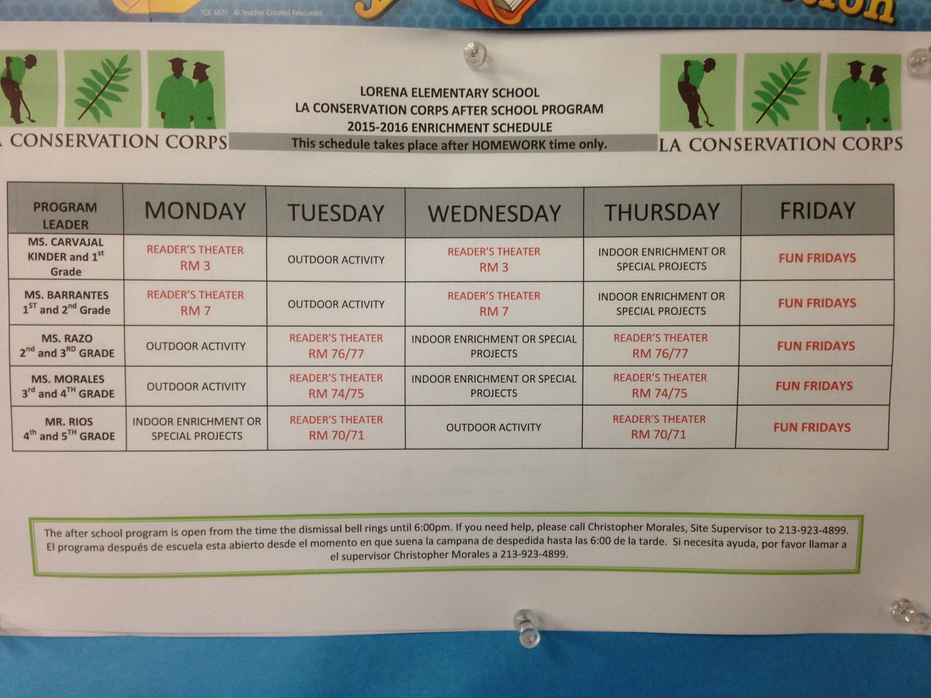 Lorena After School Program Enrichment Schedule